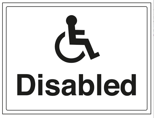 Disabled Access in Glasgow White Disabled Sign